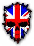 Dripping Skull With Union Jack UK Flag external Vinyl Car Sticker 85x120mm